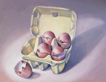 Happy Eggs | Oil on Board |