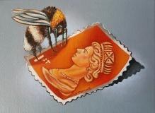 Queen Bee (Orange Stamp) | Oil on Linen | SOLD