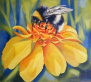 Bee On Flower | Oil on Canvas Paper | SOLD